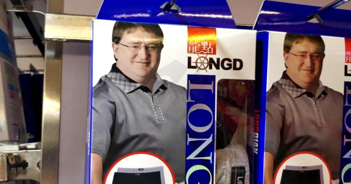 Una marca china de ropa interior está utilizando la cara de Gabe Newell en su publicidad