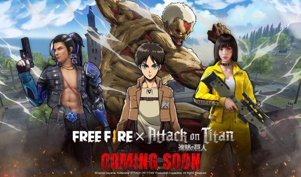 Free Fire tendrá una colaboración con Shingeki no Kyojin